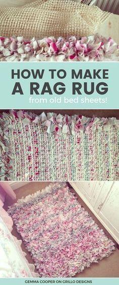 DIY Rag Rug tutorial - Gemma Cooper shares an easy method on how to create the perfect rag rug for your home. Video tutorial included! #diyragrugupcycle #diyragrugeasy