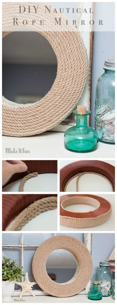 Mirror Project - Nautical Style Create a DIY custom mirror for the house with a Nautical decor twist.Create a DIY custom mirror for the house with a Nautical decor twist. Nautical Bedroom, Nautical Home, Nautical Style, Nautical Interior, Boot Dekor, Decor Crafts, Diy Home Decor, Nifty Diy, Custom Mirrors