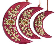 Hand Painted Hanging Papier Mache Moons from Kashmir
