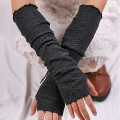 Pair of Chic Pure Color Knitted Fingerless Gloves For Women Girls Accessories, Fashion Accessories, Stylish Outfits, Fashion Outfits, Cheap Fashion, Grey Gloves, Fingerless Gloves Knitted, Online Fashion Stores, Online Shopping