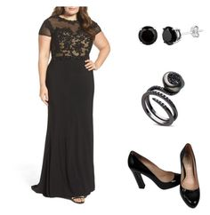 """Look Fabiana Karla Gala"" by thamiresgiglio on Polyvore featuring moda, Mac Duggal, Miu Miu e plus size dresses"