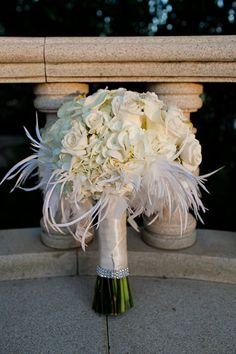 bridal cream bouquet with feathers, modern, chic wedding #wedding #bouquet #bridal Arlington Wedding Photographer | F + Vs Modern Mediterranean Villa Wedding Ceremony & Reception