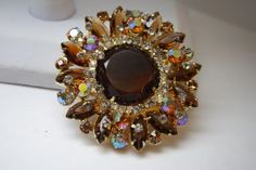 VINTAGE JULIANA AMBER AURORA BOREALIS GLASS RHINESTONE LARGE BROOCH/ OPEN BACK in Jewelry & Watches, Vintage & Antique Jewelry, Costume, Retro, Vintage 1930s-1980s, Pins, Brooches   eBay