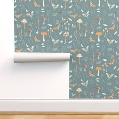 Removable Wallpaper 3ft x 2ft - Vintage Woodland Hand-Drawn Moth Watercolor Fairy Custom Pre-pasted Wallpaper by Spoonflower