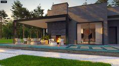 Projekt domu Zx183 Nowoczesny parterowy dom z wiatą garażową w wyjątkowym designie