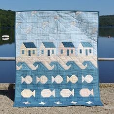 Bring the Beach Inside to Enjoy All Year – Quilting Digest - Row Ocean Quilt, Beach Quilt, Fish Quilt, Mini Quilts, Baby Quilts, Small Quilts, Beach Themed Quilts, Coastal Quilts, Nautical Quilt