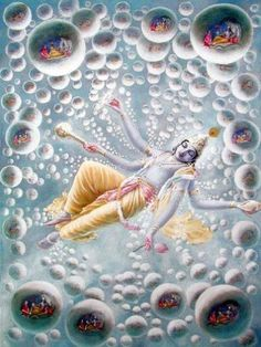 Lord Vishnu in yoga nidra, mystic slumber, while universes coming out of his skin holes. Into each universe has entered an expansion or Garbodaksayi Vishnu.