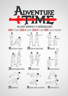The Adventure Time workout is full of surprises. Be prepared for anything with a workout that trains you for almost anything. There is, of course, one extra element you will need for a true Adventure Time experience and that's just the right … Read Hero Workouts, At Home Workouts, Weight Workouts, Neila Rey Workout, Superhero Workout, Darebee, Workout Challenge, Jiu Jitsu, Excercise