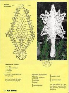 gwiazda na Stylowi.What do you expect from a crochet newsletter?Christmas on Stylowi. Lace Christmas Tree, Crochet Christmas Ornaments, Holiday Crochet, Christmas Bells, Christmas Angels, Christmas Crafts, Christmas Decorations, Crochet Snowflake Pattern, Crochet Snowflakes