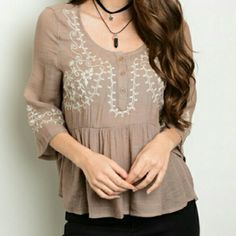 Brown and Ivory Cotton Baby Doll Top SM 4/6  MED 8/10  LRG 10/12  This material is gorgeous and to die for.  Great for summer. Tops
