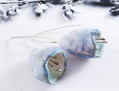 sterling silver & porcelain earrings, hand fabrictated