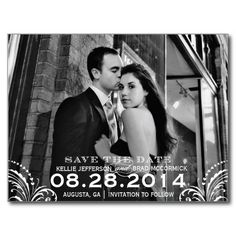 Elegant Flourish Save the Date Post Card