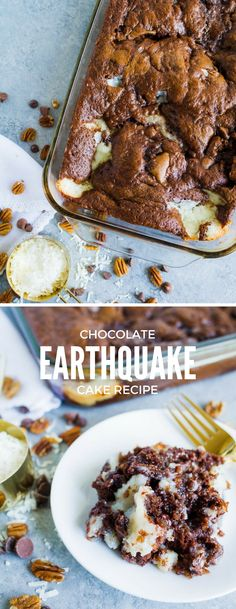 Not a dutch oven recipe, but I would like to try it during a camp trip. This Earthquake Cake is rich and decadent. The perfect cake recipe. Named the Earthquake Cake because the ingredients shift around when baking. Easy Cake Recipes, Cupcake Recipes, Cookie Recipes, Dessert Recipes, German Chocolate Cake Mix, Tasty Chocolate Cake, Cupcakes, Cupcake Cakes, Cake Cookies
