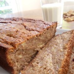 A banana bread recipe that is very moist, has less fat and sugar than the traditional banana bread and absolutely scrumptious.