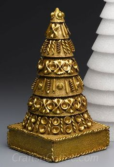 A Tasty Tutorial: Make a Golden Noodle Christmas Topiary Tree - made with different types of pasta: