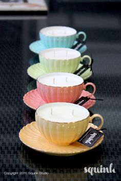 Tea cup candle party favors.