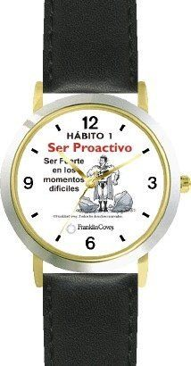 Habit 1 - Be Strong (Spanish Text) - DELUXE TWO-TONE WATCH from THE 7 HABITS - WATCH COLLECTION BY WATCHBUDDY® - Arabic Numbers - Black Leather Strap-Size-Children's Size-Small ( Boy's Size & Girl's Size ) WatchBuddy. $49.95