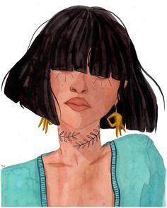 Beautiful watercolor illustration of a girl by artist Maggie Cole Portraits Illustrés, Art Sketches, Art Drawings, Tattoo Sketch, Posca Art, Aesthetic Art, Art Inspo, Watercolor Art, Art Girl