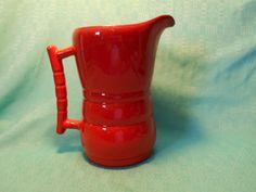 Frankoma Pitcher-  Vintage Frankoma Pottery Pitcher- Flame Red Pitcher by SETXTreasures on Etsy