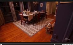 Alternate view with the chevron rug from Navy Built-Ins and Stone Table from Dear Genevieve Season 4 Episode 9 Visual Cues for Room Flow