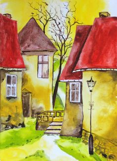 reminds me of Denmark! Let's Neighbor: random acts of neighboring Neighborhood Summit and Watercolour Painting, Painting & Drawing, Cottage Art, Naive Art, Whimsical Art, Painting Inspiration, Folk Art, Art Drawings, Art Projects