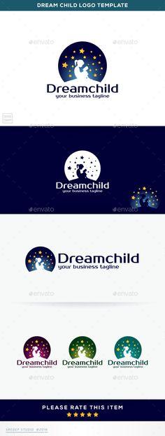 Dream Child by sregep business name Logo TemplateDream Child Feature 100 Scalable Vector FilesEditable VectorResizable VectorEasy to Edit Color/TextWhi Kindergarten Logo, Dream Logo, Moon Logo, Education Logo, School Logo, Name Logo, Kids Logo, Logo Concept, Logos