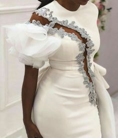 Second dress for the reception party. Latest African Fashion Dresses, African Dresses For Women, Ankara Fashion, Dinner Gowns, Lace Dress Styles, Classy Dress, Elegant Dresses, Evening Dresses, Fashion Outfits