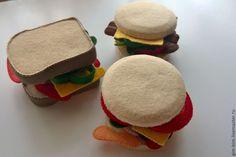Купить Бутерброды(из фетра) - бежевый, еда для кукол, еда из фетра, игровой набор еды