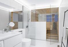 Valkoinen väri avartaa modernia kylpyhuonetta. Klikkaa kuvaa, niin näet tarkemmat tiedot.
