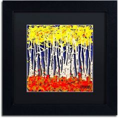 Trademark Fine Art White Aspens Canvas Art by Roderick Stevens, Black Matte, Black Frame, Size: 16 x 16