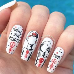 Twenty one pilots nails <<< I need this, I want this, I'll do everything to get this Tyler Joseph, Tyler And Josh, Cute Nails, Pretty Nails, Hair And Nails, My Nails, Band Nails, Twenty One Pilots Art, Cool Bands