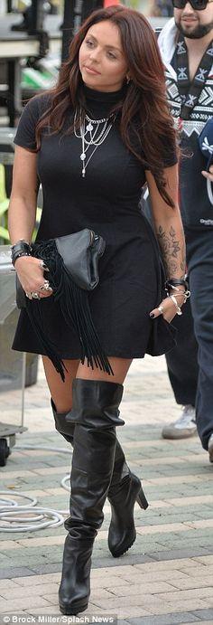 OTK black high-heeled boots, LBD, chestlength wavy auburn hair, pink lips, black leather clutch #NaturalSize