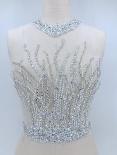 Bridal dress full applique Vintage wedding gowns Antique designed bridal tops, Acrylic applique Hand beaded crystal bodice with neckline Bead Embroidery Patterns, Couture Embroidery, Embroidery Fashion, Embroidery Dress, Beaded Embroidery, Embroidery Designs, Embroidered Lace, Hand Embroidery, Applique Wedding Dress