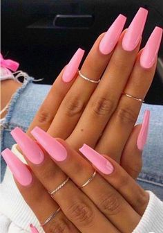 48 Pretty Acrylic Coffin Nails Design You Need To Try - Pretty nails - - cute acrylic nails Simple Acrylic Nails, Square Acrylic Nails, Pink Acrylic Nails, Acrylic Nail Art, Square Nails, Neon Pink Nails, Wedding Acrylic Nails, Pink Manicure, Pink Acrylics