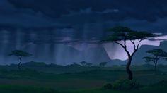 The Lion King backdrops - dark - rain - landscape - Africa - matte painting - backdrop Lion King Jr, The Lion King 1994, Cartoon Background, Animation Background, King Picture, African Jungle, Disney Artists, Best Disney Movies, Disney Films