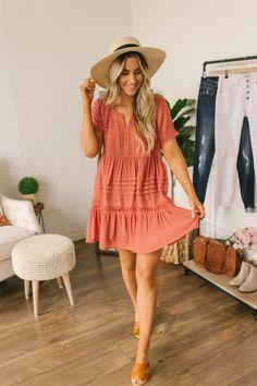 577a7a56df Crochet Detail Babydoll Dress - Burnt Amber