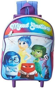 Disney Girls Inside Out 12 Inch Rolling Backpack  Licensed Product * Continue to the product at the image link.