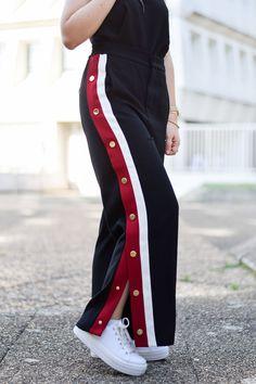 pantalon pyjama bandes latérales zara dupe gucci boutons pression baskets plateformes track pants