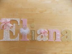 Personalized Wooden Letters-Gold & Pink by CountingOurBlessings