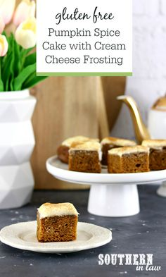 Easy Gluten Free Pumpkin Spice Cake with Cream Cheese Frosting Recipe - this made from scratch sheet cake style cake is so easy to make and delicious to eat. Made with canned pumpkin puree, it's a simple one bowl recipe everyone will love. Homemade fall desserts don't get easier than this!