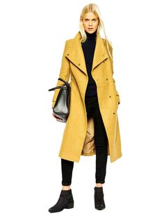 Fashion Stand Collar Long Trench Coat With Sash & Jackets / Coats - at Jollychic