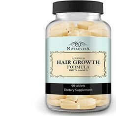awesome Nutrevita Biotin Vitamins for Hair Growth - Extra Strength Biotin - Supplement for Thicker, Longer, Fast Growing Vibrant Hair - Best for Men and Women - 30 Day Supply - 60 Day Money Back Guarantee