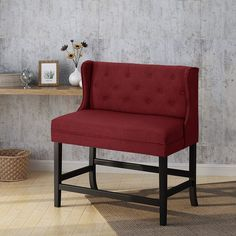 Christopher Knight Home 304380 Paulina Winged Tufted Fabric 2 Seater 28 Barstool Deep Red Dark Brown Extra Tall Bar Stools, Christopher Knight, Dark Brown, Countertops, Armchair, Deep, Fabric, Furniture, Home Decor