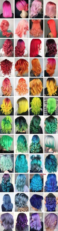 Rainbow of hair color inspiration. # hair color inspiration # rainbow Rainbow of hair color inspirat Cute Hair Colors, Pretty Hair Color, Beautiful Hair Color, Hair Dye Colors, Fun Hair Color, Hair Color Ideas, Cinnamon Hair, Aesthetic Hair, Crazy Colour