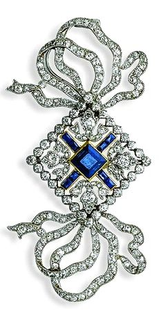 Tiffany Ribbon Sapphire & Diamond Brooch