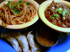 """Our Triple """"D"""" sampler showcases the items that will featured tonight on the Food Networks, Diners, Drive-ins, and Dives.     The Triple """"D"""" sampler = CajAsian Potstickers, BBQ Spaghetti, and Red Beans and Rice.     You can get the Triple """"D"""" sampler all month long for $8.99, or if you bring in 2 or more canned goods for the St. Louis Area Foodbank you can get the sampler for $6.99.     Our episode """"Authentic Eats"""" airs tonight at Midnight, and Thursday at 2:00 pm."""