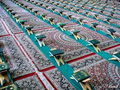Holy Quran.Holy Qurans lined up for recitation ceremony