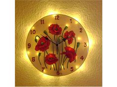 Poppie Lighted Wall Clock. Silent, Unique, Floral wall clock, Red wall decor, Poppie decoration, Vintage decor Red Wall Clock, Wall Clock Light, Wall Clock Hands, Wall Clock Silent, Wall Lights, Modern Office Decor, Office Wall Decor, Picture Clock, Led Garland
