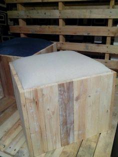 Pouf design bois palette et Lin - industriel Art : Meubles et rangements par deco-loft