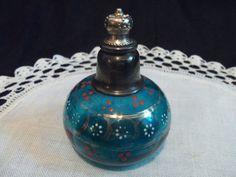 Antique Vintage Perfume Bottle Teal Glass Enamel Design Czech Bohemian | eBay